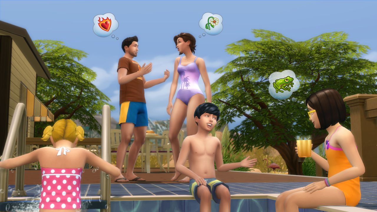 A happy Sim family chats at the pool.