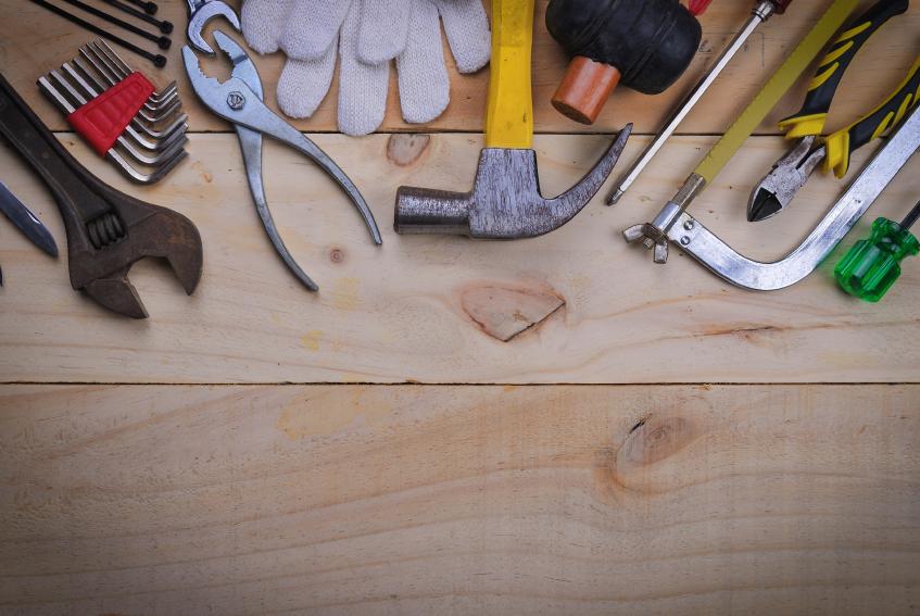 set of tools on wood table