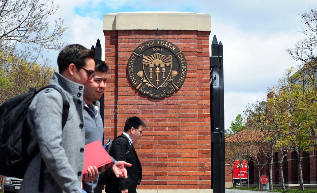 Students on the USC campus