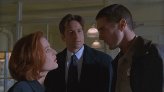 "Gillian Anderson, David Duchnovy and Luke Wilson in 'The X-Files' episode, ""Bad Blood."""
