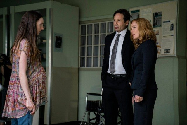 "Kacey Rohl, David Duchovny and Gillian Anderson in 'The X-Files' miniseries episode, ""Founder's Mutation"""