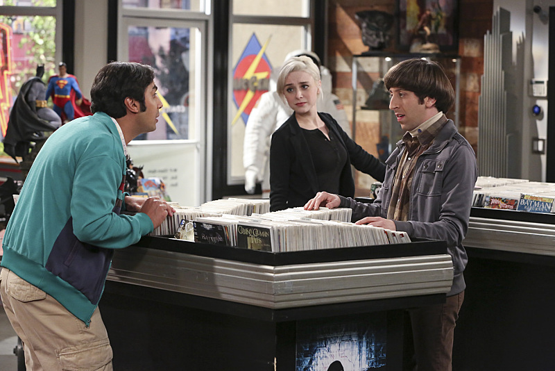 """""""The Meemaw Materialization"""" -- Raj (Kunal Nayyar, left) meets a new girl at the comic book store who makes him question his relationship with Emily, on THE BIG BANG THEORY, Thursday, Feb. 4 (8:00-8:31 PM, ET/PT), on the CBS Television Network. Also pictured: Alessandra Torresani (center) and Simon Helberg (right) Photo: Michael Yarish/Warner Bros. Entertainment Inc. © 2016 WBEI. All rights reserved."""