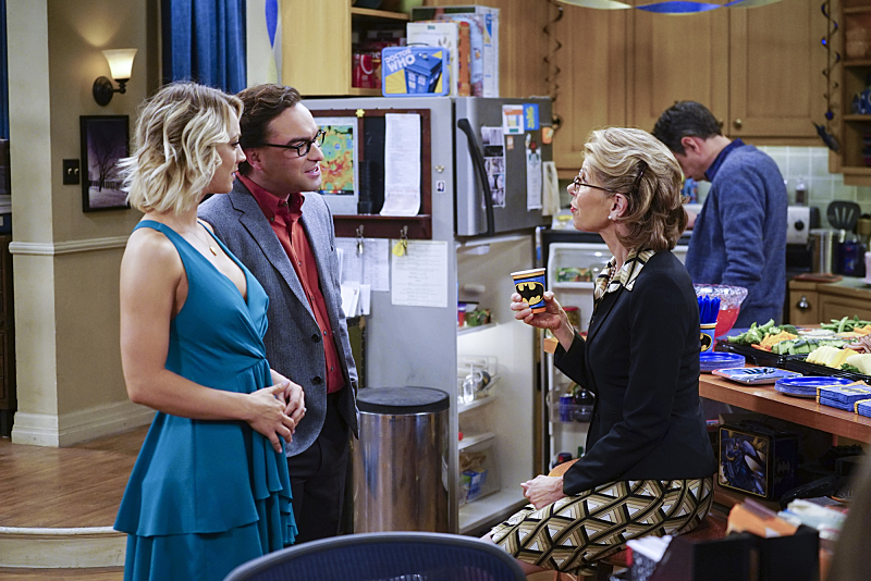 """The Celebration Experimentation"" -- After more than nine years together, the gang finally celebrates Sheldon's birthday, surprising him with a special guest, on the 200th episode of THE BIG BANG THEORY, Thursday, Feb. 25 (8:00-8:31 PM, ET/PT) on the CBS Television Network. Pictured left to right: Johnny Galecki, Kaley Cuoco, Christine Baranski and John Ross Bowie Photo: Monty Brinton/CBS ©2016 CBS Broadcasting, Inc. All Rights Reserved"