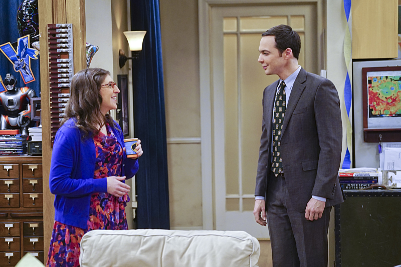 """The Celebration Experimentation"" -- After more than nine years together, the gang finally celebrates Sheldon's birthday, surprising him with a special guest, on the 200th episode of THE BIG BANG THEORY, Thursday, Feb. 25 (8:00-8:31 PM, ET/PT) on the CBS Television Network. Pictured left to right: Jim Parsons and Mayim Bialik Photo: Monty Brinton/CBS ©2016 CBS Broadcasting, Inc. All Rights Reserved"