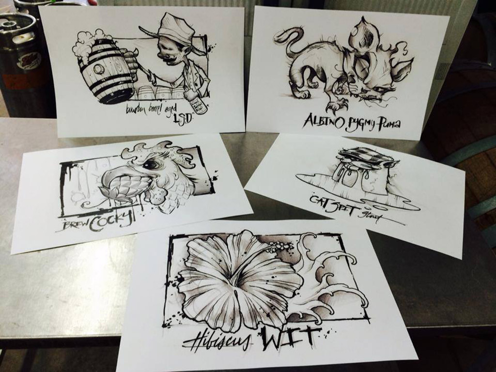 sketches for bottle labels at 2nd Shift Brewing