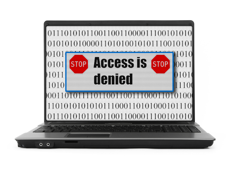 Access is denied displaying on a laptop