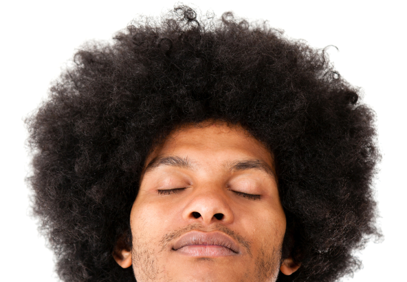 African American young man with an afro