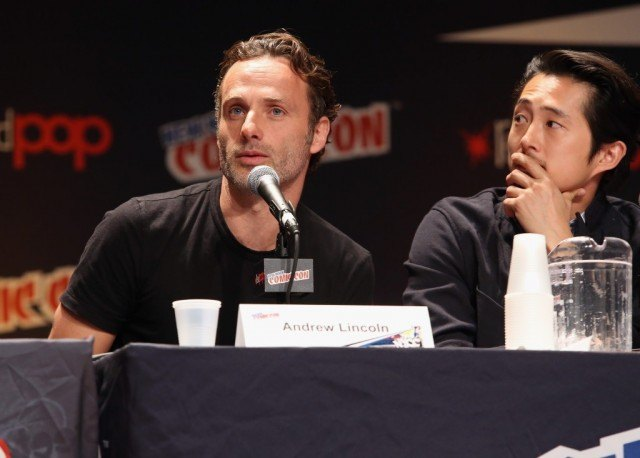 Andrew Lincoln and Steven Yeun speaking at Comic-Con.