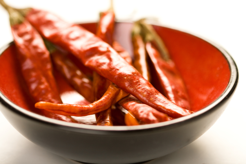 small bowl filled with dried chiles de arbol