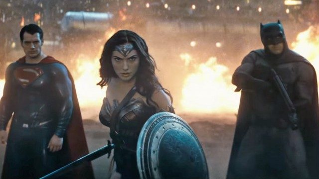 Henry Cavill, Gal Gadot and Ben Affleck in Batman V Superman Dawn of Justice