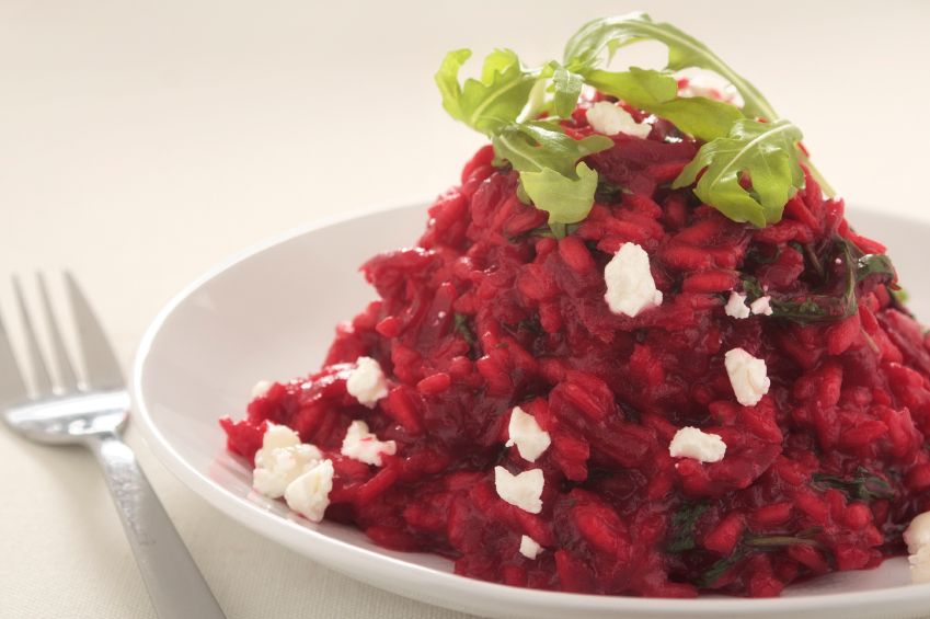 beet risotto with goat cheese and arugula