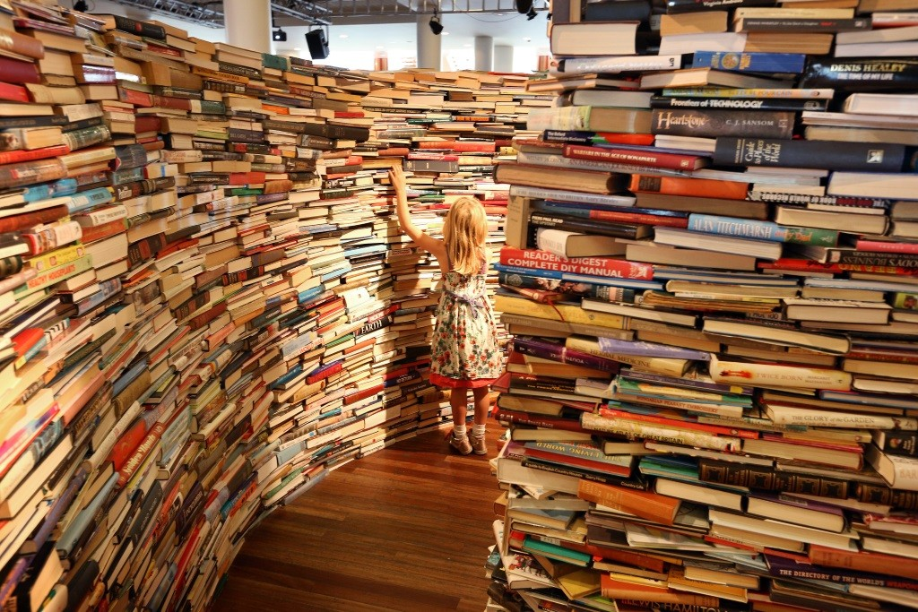 Shelves stacked with books