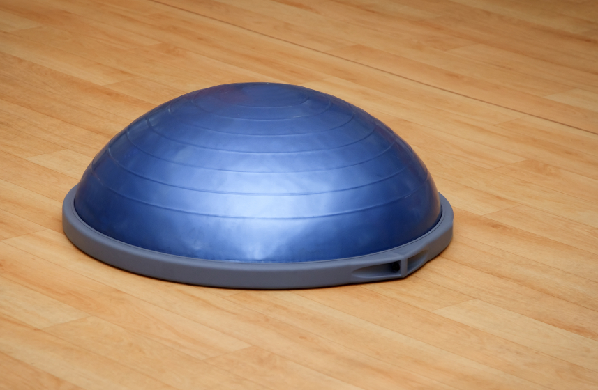 bosu ball or balance disk in a gym