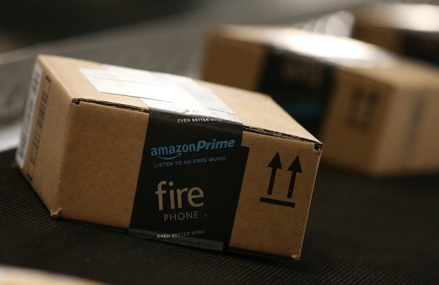 amazon packages on a conveyer belt