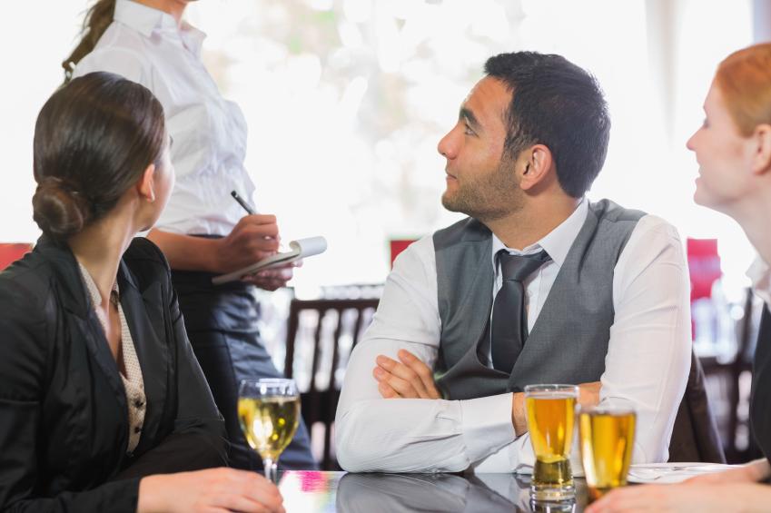 A server discusses menu options