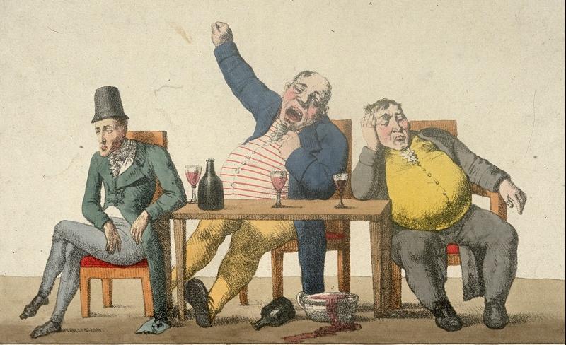 illustration of tired men