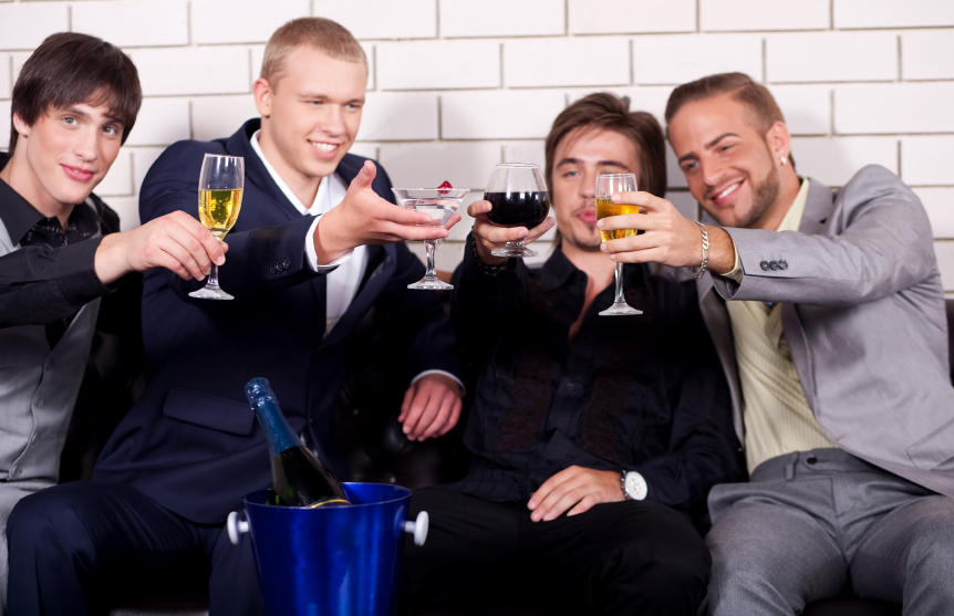 group of friends drinking and making toast