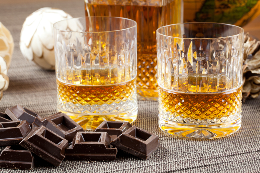 squares of dark chocolate paired with bourbon