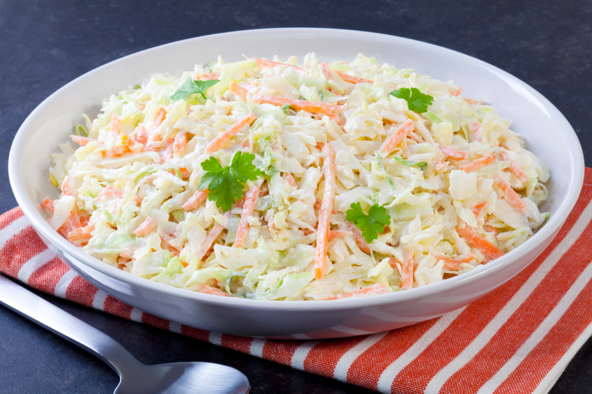 creamy cabbage and carrot coleslaw with parsley