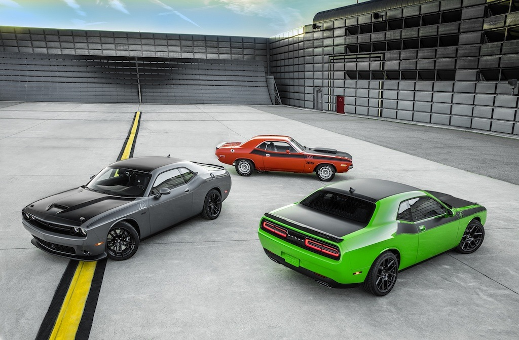 The 2017 Dodge Challenger T/A with it's older sibling