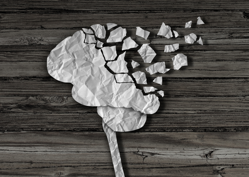 image of crinkled paper forming a brain to indicate injury or brain damage