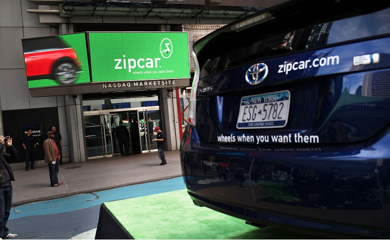 NEW YORK, NY - APRIL 14: A Zipcar is displayed during a promotion of the short term car rental company on April 14, 2011 in Times Square in New York City. Zipcar debuted on the Nasdaq Stock Market Thursday under the symbol ZIP and saw its stock surge 67% on its first day of trading. (Photo by Spencer Platt/Getty Images)