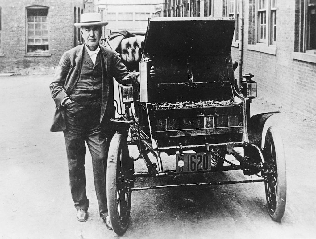 Thomas Edison with Electric car   General Photographic Agency/Getty Images