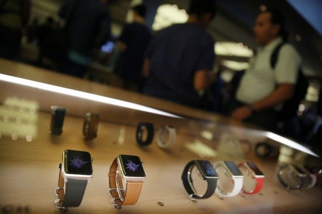 Apple Watches in a display case