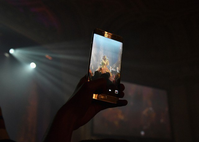 Samsung smartphone being held to record a video