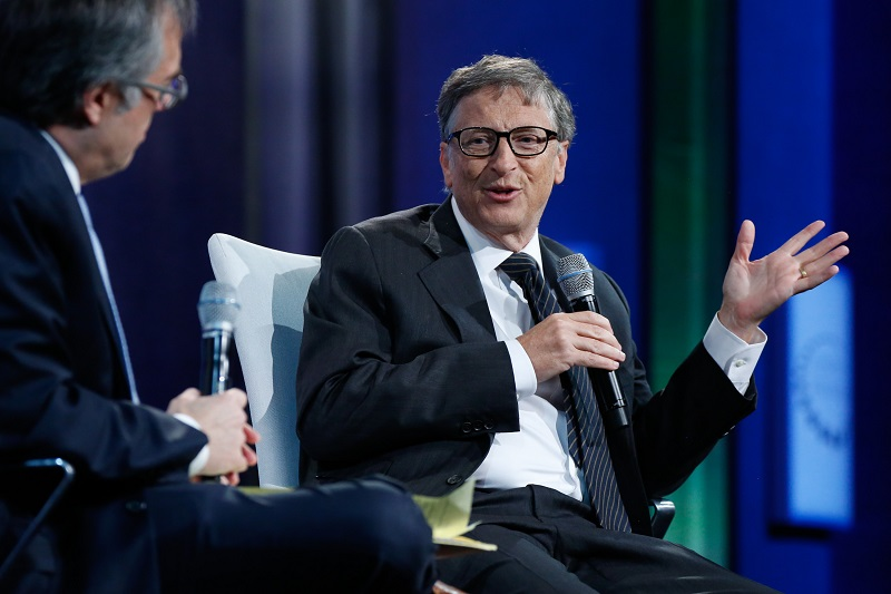 Billionaire (soon to be trillionaire?) Bill Gates speaks at a summit