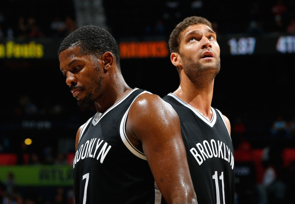 Joe Johnson #7 and Brook Lopez #11 of the Brooklyn Nets