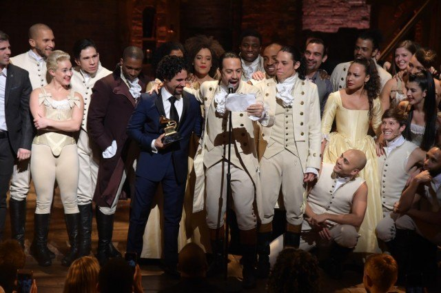 The cast and crew of 'Hamilton' accept a Grammy Award in 2016.