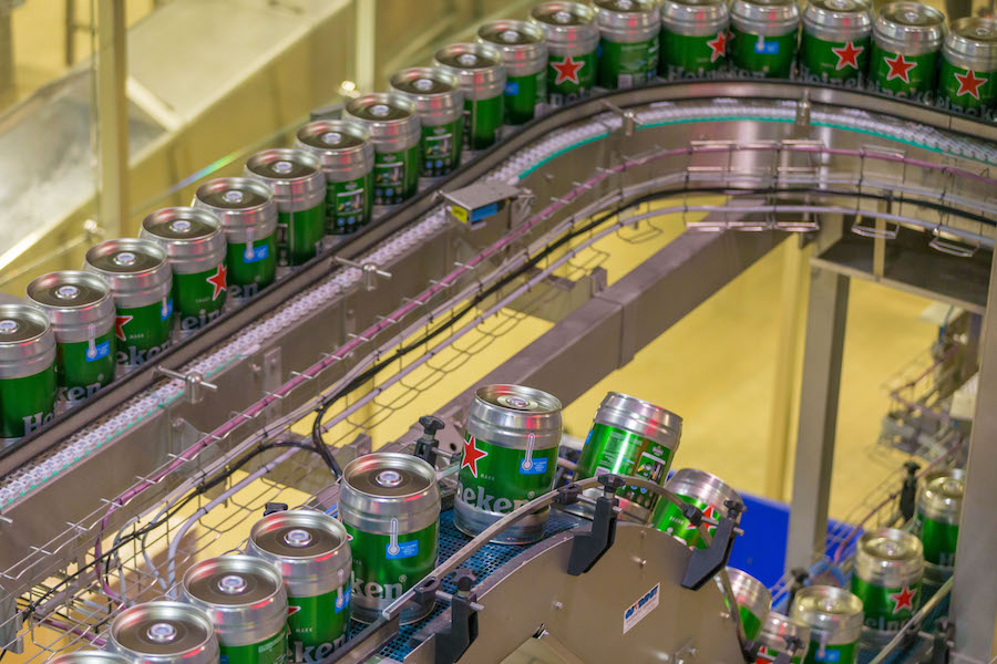 cans of heineken beer at a brewery