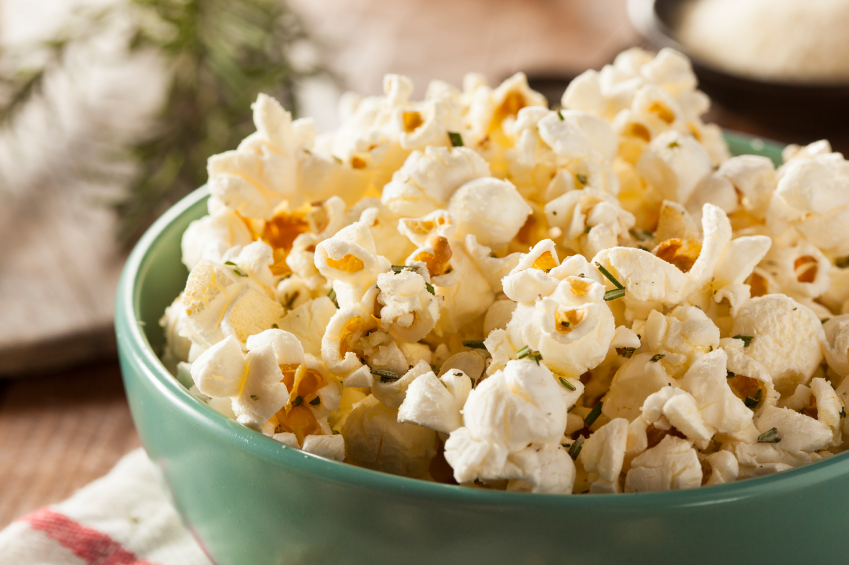 bowl filled with rosemary popcorn
