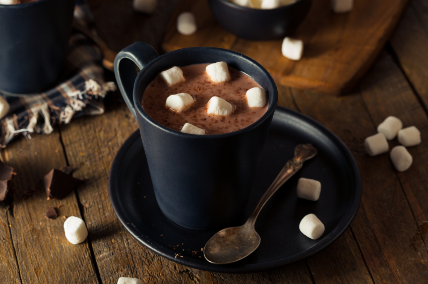 mug of rich hot chocolate with mini marshmallows on top