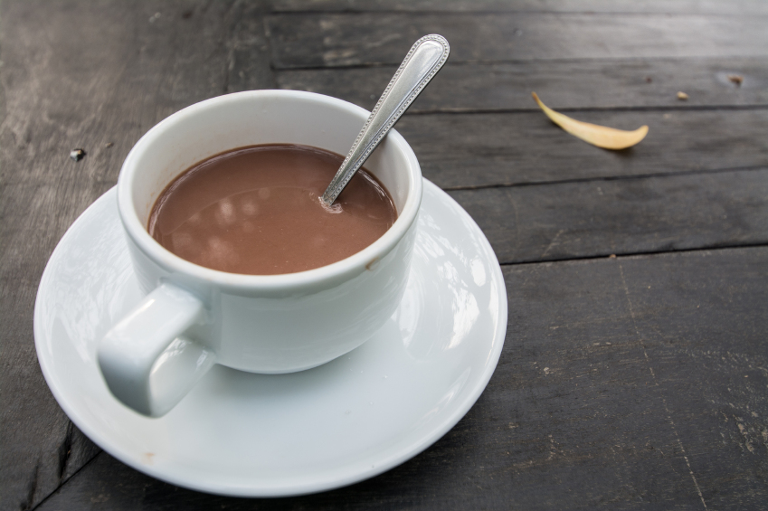 white mug filled with hot chocolate