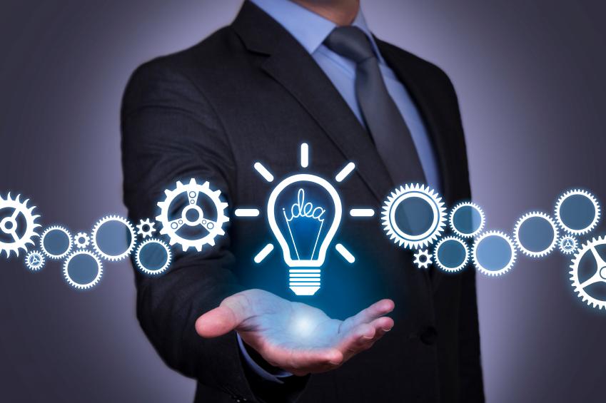 business man holding idea gear concept