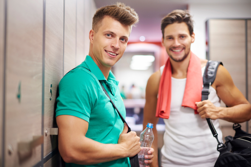two men in a locker room