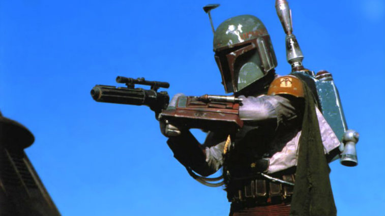 Boba Fett aims his gun to the left of the frame in Return of the Jedi