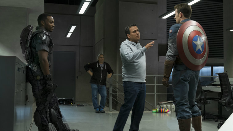 Joe and Anthony Russo on the set of Captain America The Winter Soldier with Chris Evans and Anthony Mackie