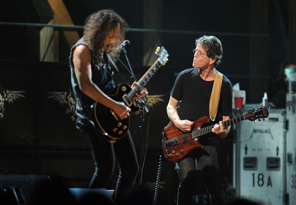 Kirk Hammett of Metallica with Lou Reed.
