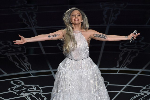 Lady Gaga performing at the 2015 Academy Awards