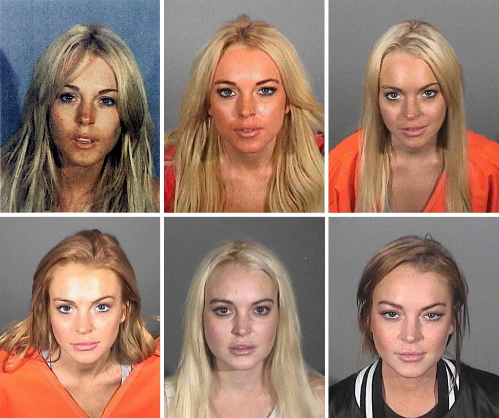 Lindsay Lohan appears in six different mug shots