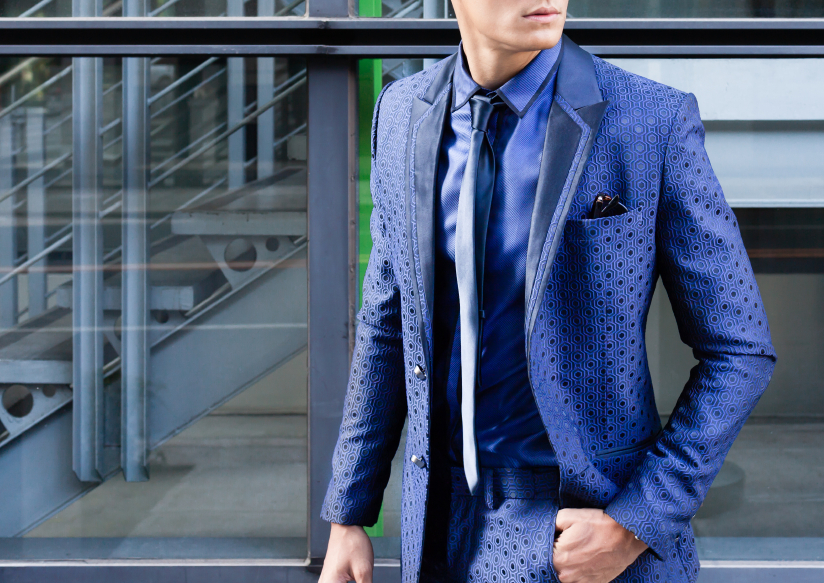 young male model in blue suit