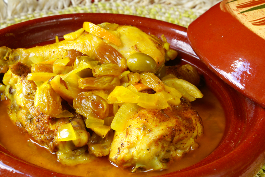 Moroccan chicken tagines with olives and dates