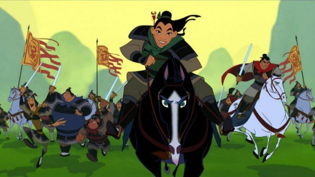 Mulan riding a black horse while leading an army.