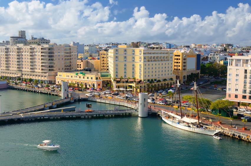 Aerial view of San Jua, Puerto Rico