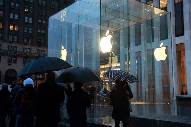 Waiting in line at the Apple store