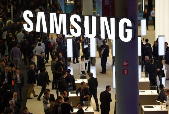 People gather at a Samsung convention