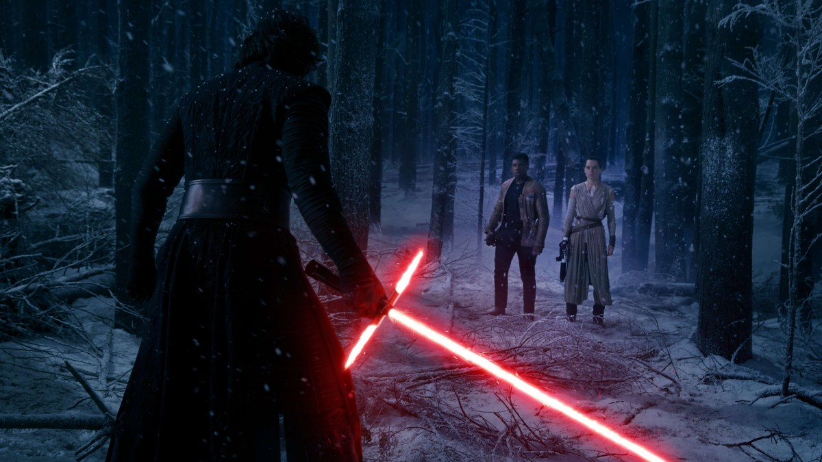 Rey, Finn, and Kylo Ren get ready to battle